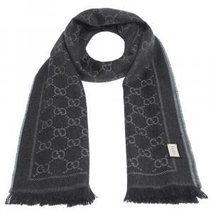 Gucci Grey Lame GG Jacquard Wool Stole