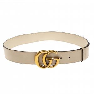 Gucci Ivory Leather Double G Buckle Belt 85CM