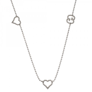 Gucci Heart Boule Silver Station Necklace