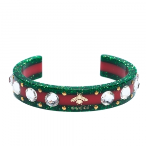 Gucci Red & Green Speckled Resin Crystal Open Cuff