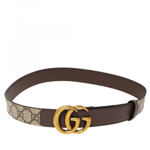 Gucci Beige GG Supreme Canvas and Leather Double G Buckle Belt 75CM