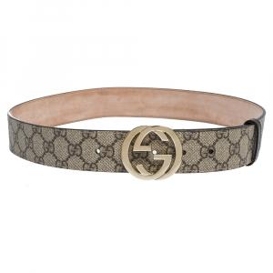Gucci Beige GG Supreme Canvas Interlocking G Buckle Belt 85CM