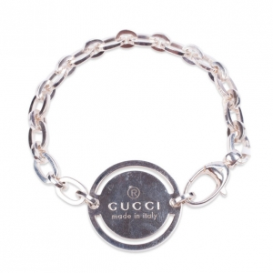 Gucci Silver Bracelet with Round Tag