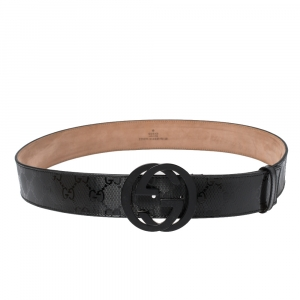 Gucci Black Imprime Canvas Interlocking GG Buckle Belt 95CM