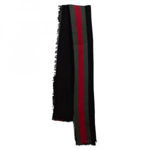 Gucci Black Cotton Silk Jacquard Web Stripe Stole