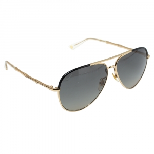 Gucci Black & Gold Tone / Grey Gradient GG 4276/S Bamboo Aviator Sunglasses