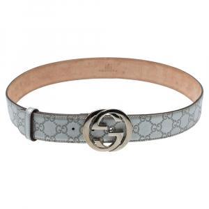 Gucci Silver Guccissima Leather Interlocking G Buckle Belt 90CM