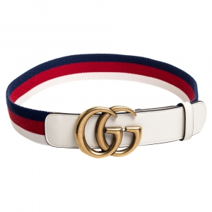 Gucci White Canvas and Leather Web GG Marmont Belt 80CM