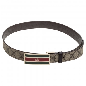 Gucci Beige GG Supreme Canvas Web Square Buckle Belt 85CM