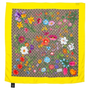 Gucci Yellow GG Flora Print Organic Silk Twill Scarf