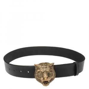Gucci Black Leather Tiger Buckle Belt 80CM