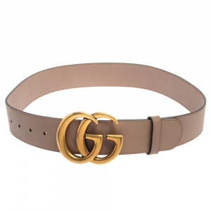 Gucci Beige Leather Double G Buckle Belt 80CM