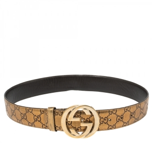 Gucci Metallic Gold Guccissima Leather Interlocking G Buckle Belt 80CM