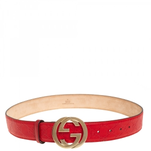 Gucci Red Guccissima Leather Interlocking G Buckle Belt 85CM