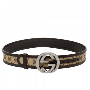 Gucci Brown/Beige GG Canvas and Leather Interlocking G Buckle Belt 85 CM