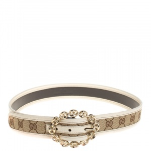 Gucci Beige/Cream GG Canvas and Leather Chain Buckle Belt 80CM