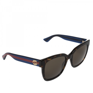 Gucci Brown/Blue Web Stripe GG0034S Square Sunglasses