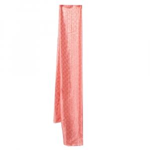 Gucci Pink Logo Monogram Lurex Silk Jacquard Stole