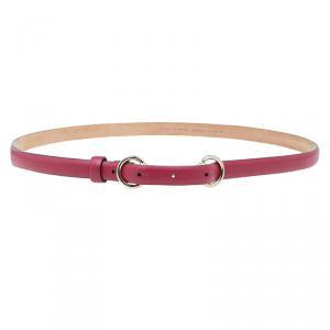 حزام غوتشي رفيع مزين بهورسبيت جلد أحمر 85 سم