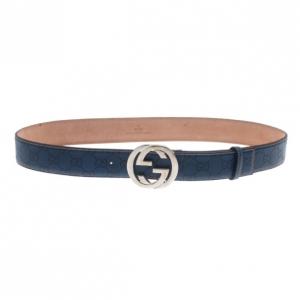 Gucci Blue Guccissima Leather Interlocking G Buckle Belt 95CM