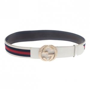 Gucci White Leather Web Detail Interlocking G Buckle Belt 80CM