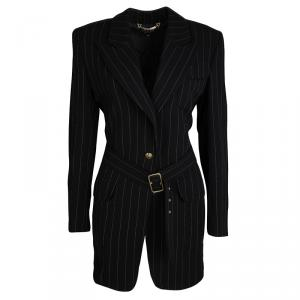 Gucci Black Wool Pinstriped Belted Long Blazer S