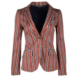 Gucci Rust Orange and Navy Blue Regimental Striped Cotton Palma Blazer S