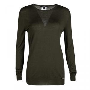 Gucci Deep Olive Green Wool Long Sleeve Sweater L