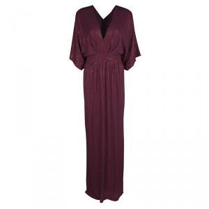 Gucci Burgundy Rhinestone Embellished Silk Kimono Sleeve Evening Gown S used