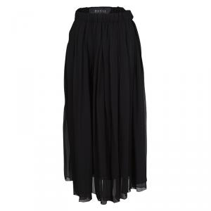 Gucci Black Silk Elasticized Waist Detail Pleated Midi Skirt S