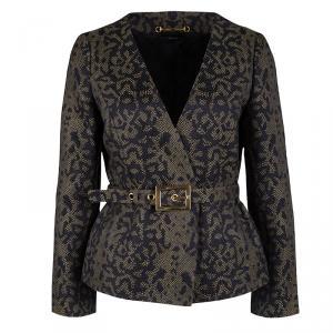 Gucci Multicolor Python Pattern Belted Jacquard Jacket M