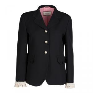 Gucci Black Silk Wool Ruffled Cuff Detail Blazer M