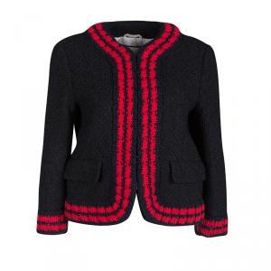 Gucci Black Textured Knit Contrast Trim Jacket M
