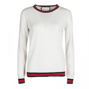 Gucci Cream Wool Lurex Web Trim Long Sleeve Crew Neck Sweater L