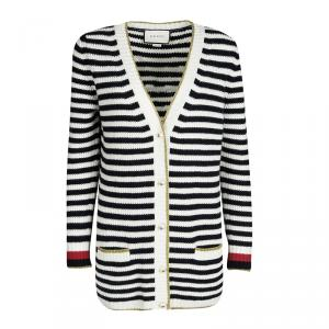 Gucci Monochrome Striped Lurex Trim Detail Cashmere and Wool Cardigan S
