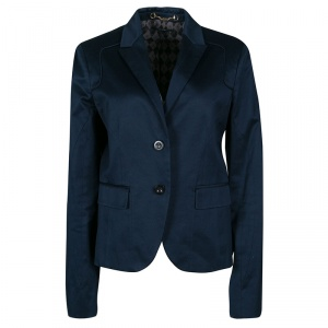 Gucci Navy Blue Stretch Cotton Tailored Two Button Blazer L