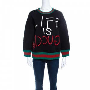 Gucci Black Jersey Lurex Web Trim Detail Ghost Sweatshirt M