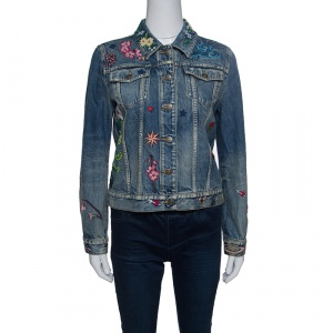 Gucci Blue Faded Effect Embroidered Denim Jacket M