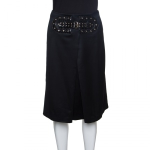 Gucci Black Wool Faux Belt Detail Inverted Pleat Front Skirt S