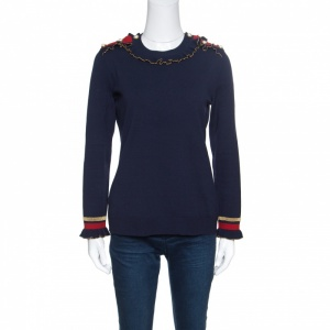 Gucci Navy Blue Wool Ruffled Lurex Trim Buttoned Shoulder Sweater M