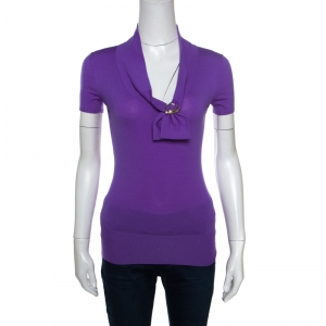 Gucci Purple Wool Horsebit Metal Detail V Neck Sweater Top S