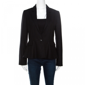 Gucci Black Wool and Cashmere Single Button Peplum Blazer M