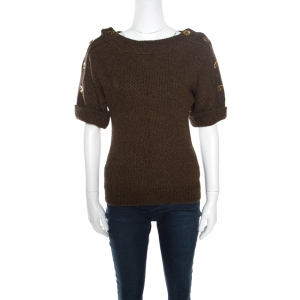 Gucci Brown Camel Wool Button Detail Short Sleeve Sweater XS - used