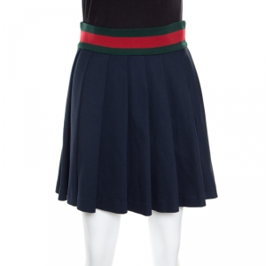 Gucci Navy Blue Knit Web Trim Waist Detail Pleated Skirt XS