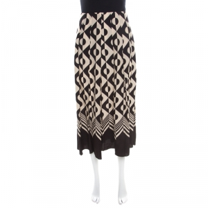 Gucci Monochrome Geometric Pattern Printed Silk Crepe de Chine Midi Skirt M