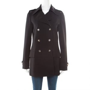 Gucci Black Wool Gabardine Double Breasted Coat S