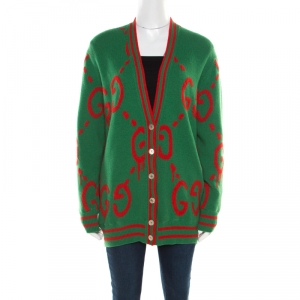 Gucci Multicolor Jacquard Wool and Silk Twill Reversible Ghost Cardigan M