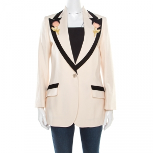 Gucci Cream Wool Contrast Velvet Trim Floral Applique Blazer M