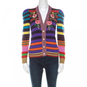 Gucci Multicolor Rainbow Striped Wool Blend Floral Applique Pearl Button Cardigan XS