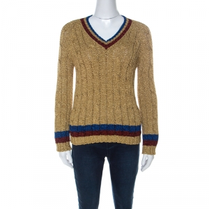 Gucci Gold Tinsel Web Stripe Detail Pullover S